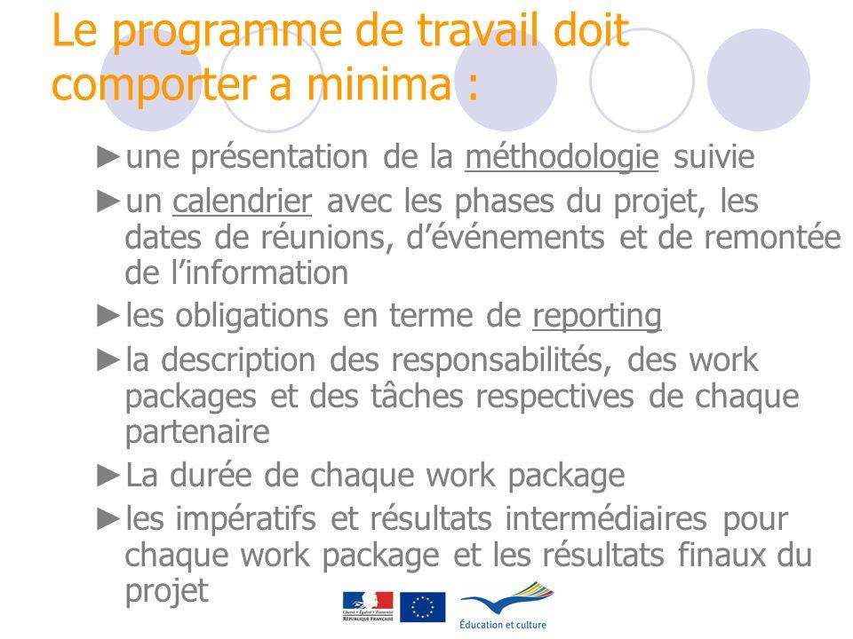 Le programme de travail doit comporter a minima : une présentation de la méthodologie suivie un calendrier avec les phases du projet, les dates de réu