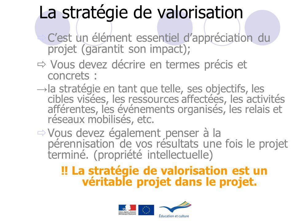 La stratégie de valorisation Cest un élément essentiel dappréciation du projet (garantit son impact); Vous devez décrire en termes précis et concrets