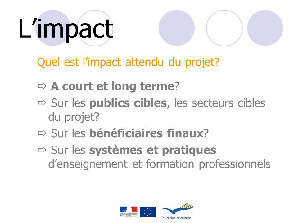 Limpact Quel est limpact attendu du projet? A court et long terme? Sur les publics cibles, les secteurs cibles du projet? Sur les bénéficiaires finaux