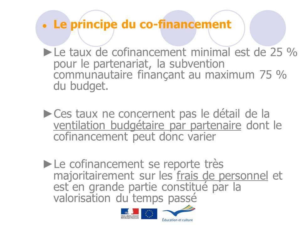Le principe du co-financement Le taux de cofinancement minimal est de 25 % pour le partenariat, la subvention communautaire finançant au maximum 75 %