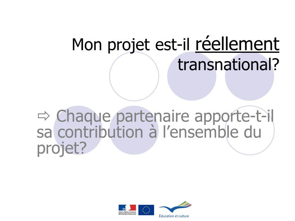 Mon projet est-il réellement transnational? Chaque partenaire apporte-t-il sa contribution à lensemble du projet?