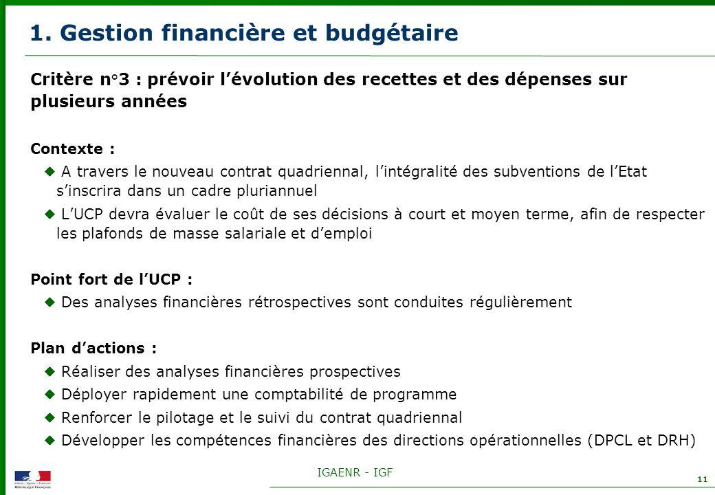 IGAENR - IGF 11 1. Gestion financière et budgétaire Critère n°3 : prévoir lévolution des recettes et des dépenses sur plusieurs années Contexte : A tr