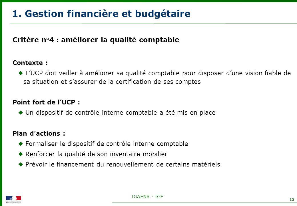 IGAENR - IGF 12 1. Gestion financière et budgétaire Critère n°4 : améliorer la qualité comptable Contexte : LUCP doit veiller à améliorer sa qualité c