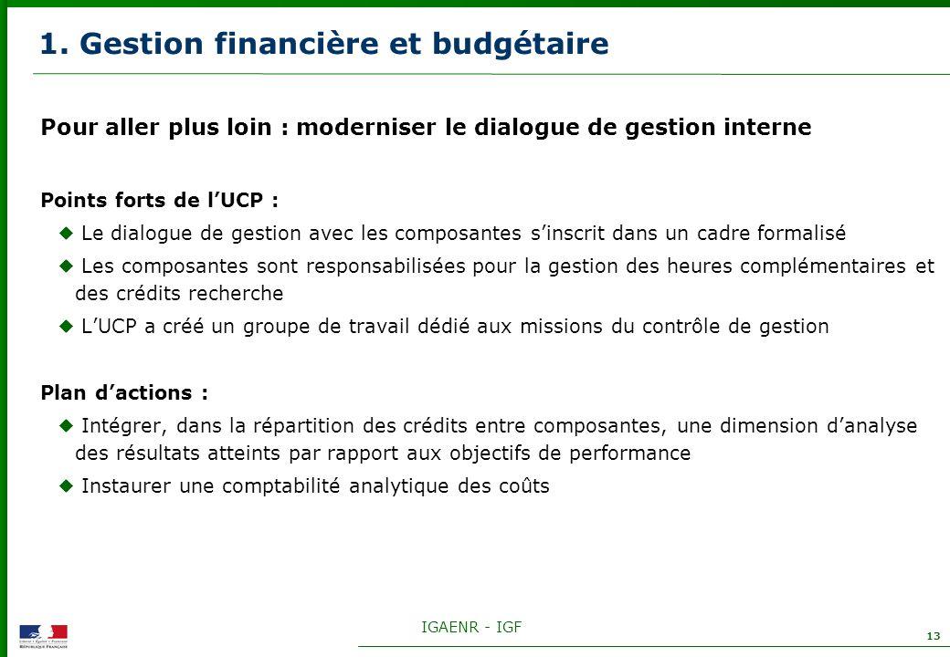 IGAENR - IGF 13 1. Gestion financière et budgétaire Pour aller plus loin : moderniser le dialogue de gestion interne Points forts de lUCP : Le dialogu