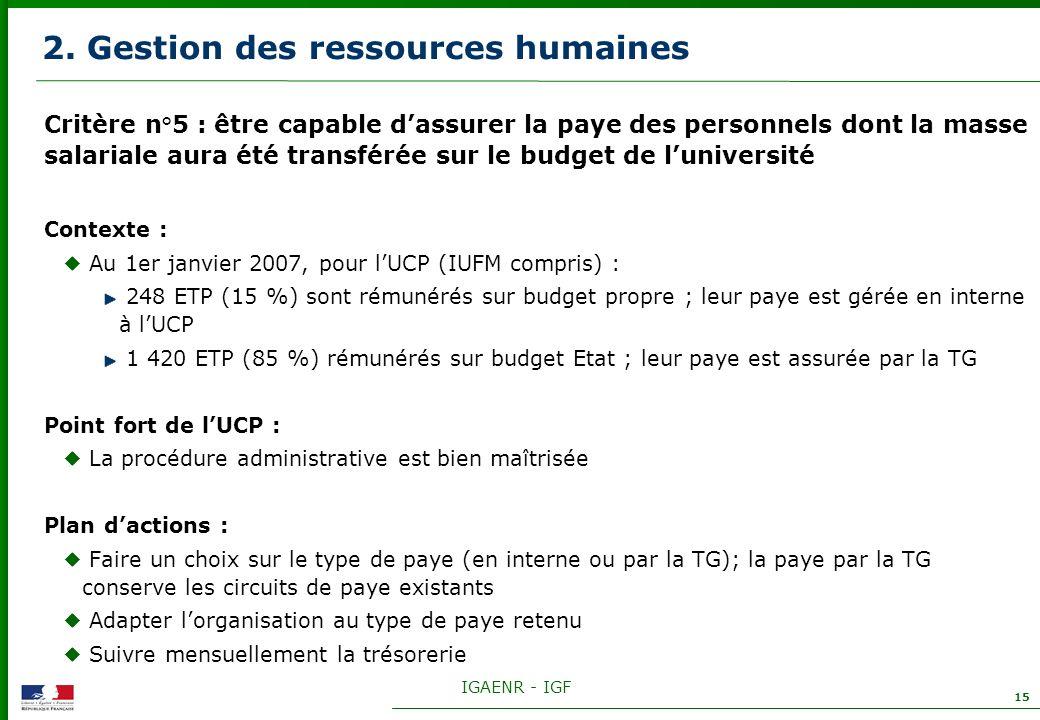 IGAENR - IGF 15 2. Gestion des ressources humaines Critère n°5 : être capable dassurer la paye des personnels dont la masse salariale aura été transfé