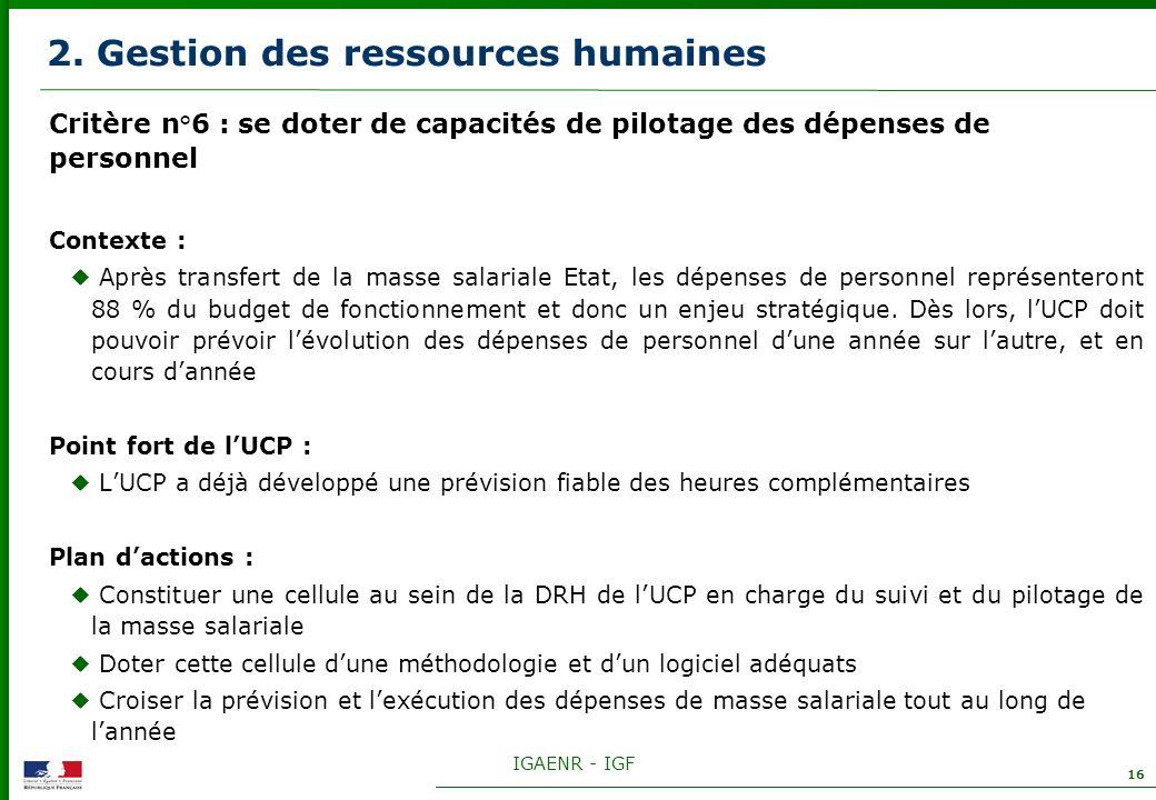IGAENR - IGF 16 2. Gestion des ressources humaines Critère n°6 : se doter de capacités de pilotage des dépenses de personnel Contexte : Après transfer
