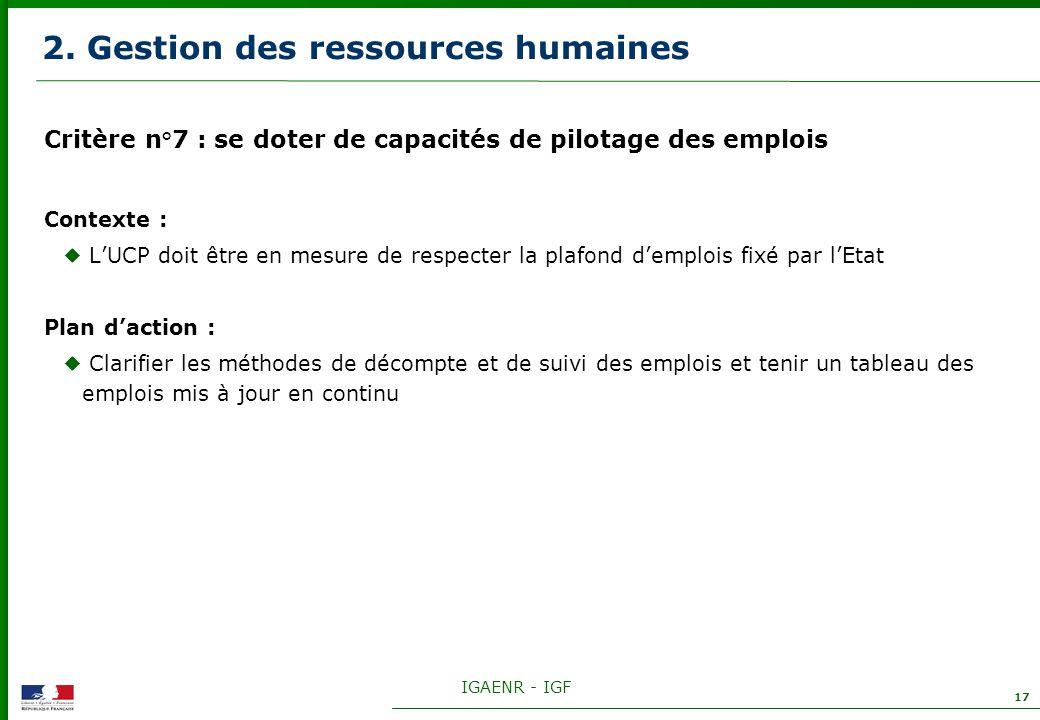 IGAENR - IGF 17 2. Gestion des ressources humaines Critère n°7 : se doter de capacités de pilotage des emplois Contexte : LUCP doit être en mesure de