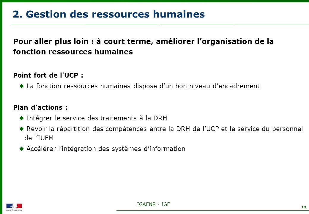 IGAENR - IGF 18 2. Gestion des ressources humaines Pour aller plus loin : à court terme, améliorer lorganisation de la fonction ressources humaines Po