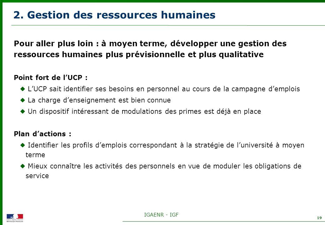 IGAENR - IGF 19 2. Gestion des ressources humaines Pour aller plus loin : à moyen terme, développer une gestion des ressources humaines plus prévision
