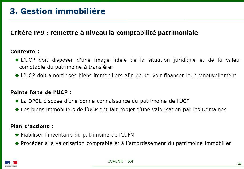 IGAENR - IGF 22 3. Gestion immobilière Critère n°9 : remettre à niveau la comptabilité patrimoniale Contexte : LUCP doit disposer dune image fidèle de