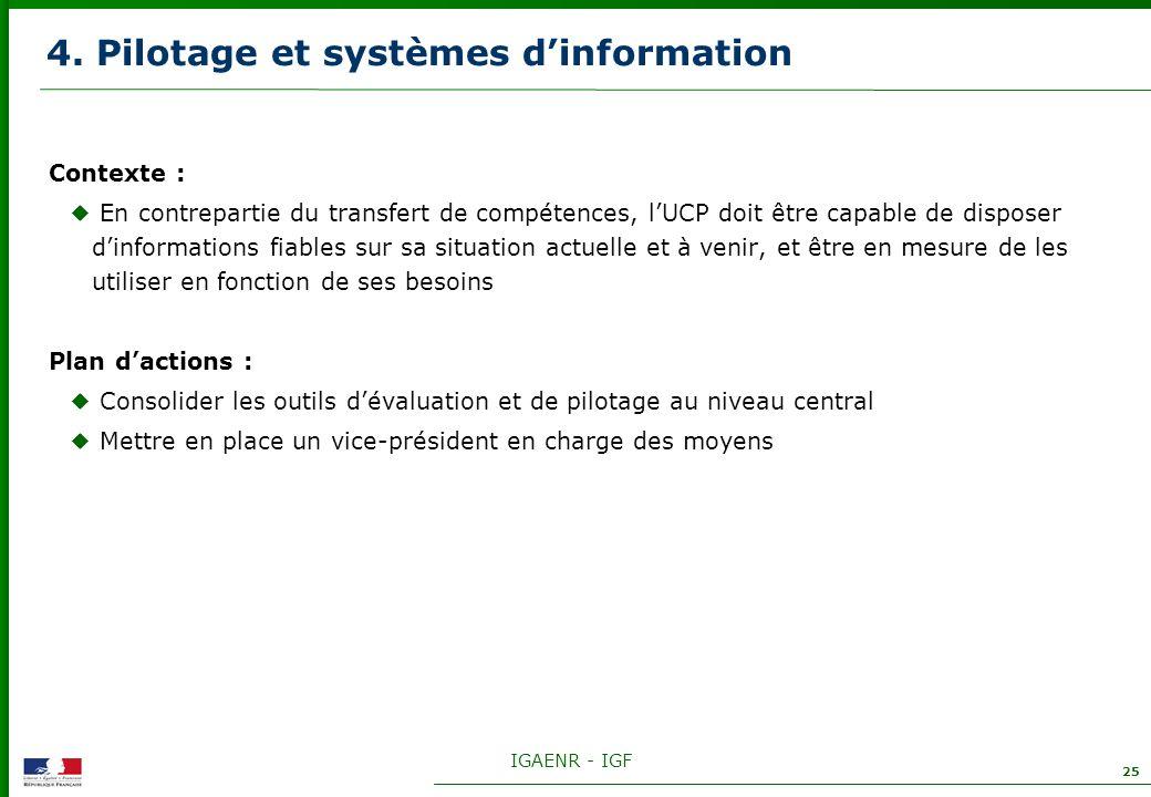 IGAENR - IGF 25 4. Pilotage et systèmes dinformation Contexte : En contrepartie du transfert de compétences, lUCP doit être capable de disposer dinfor