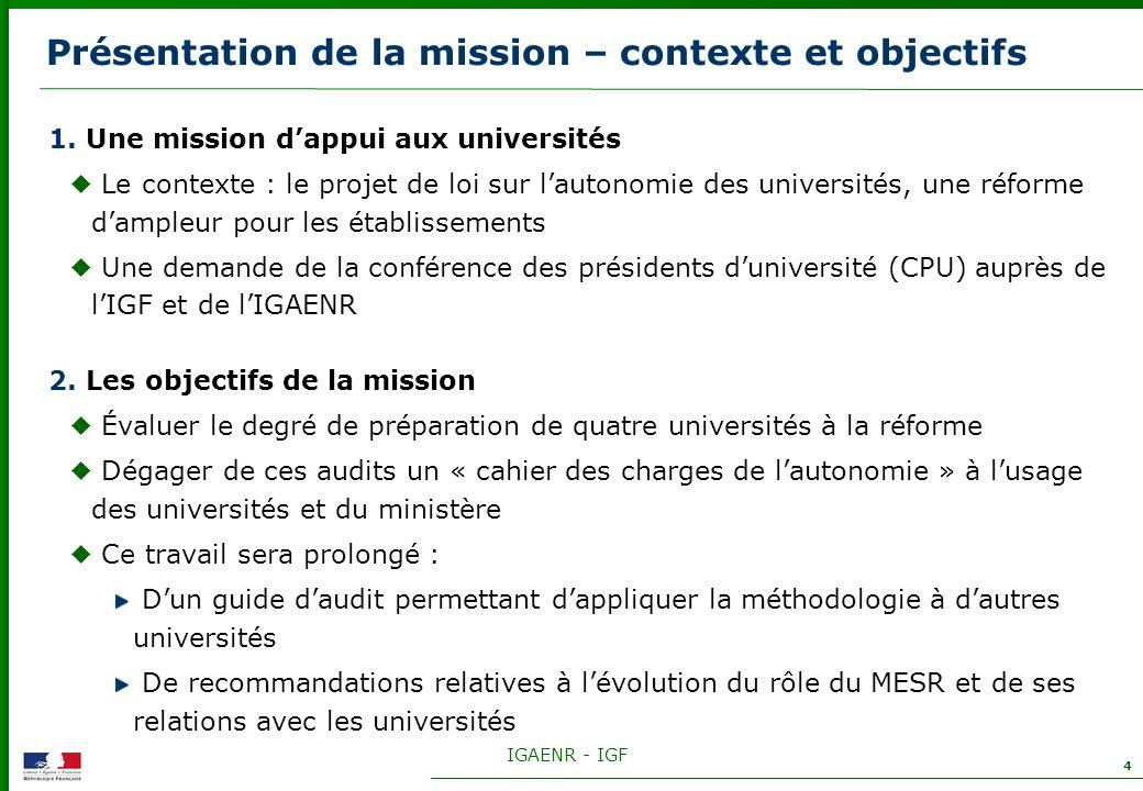 IGAENR - IGF 4 Présentation de la mission – contexte et objectifs 1. Une mission dappui aux universités Le contexte : le projet de loi sur lautonomie