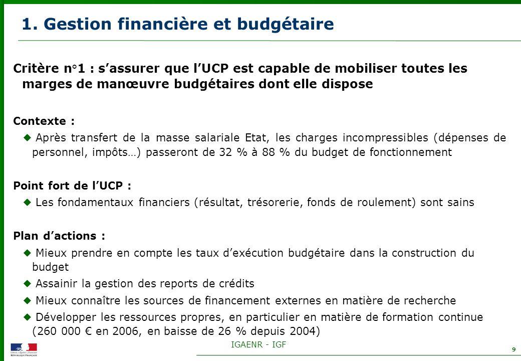 IGAENR - IGF 9 1. Gestion financière et budgétaire Critère n°1 : sassurer que lUCP est capable de mobiliser toutes les marges de manœuvre budgétaires