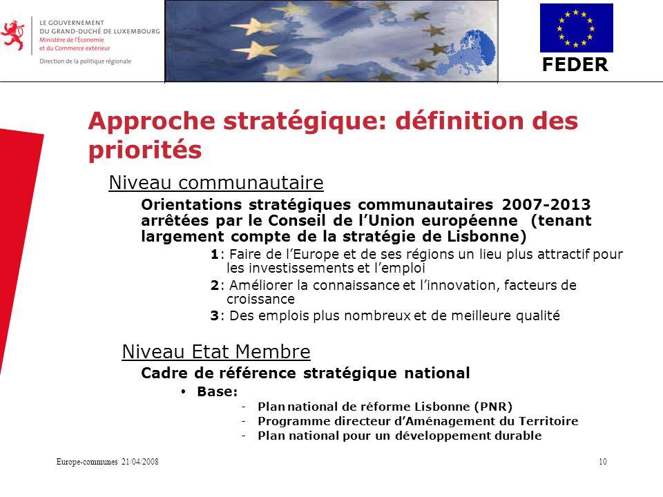 FEDER Europe-communes 21/04/200810 Approche stratégique: définition des priorités Niveau communautaire Orientations stratégiques communautaires 2007-2
