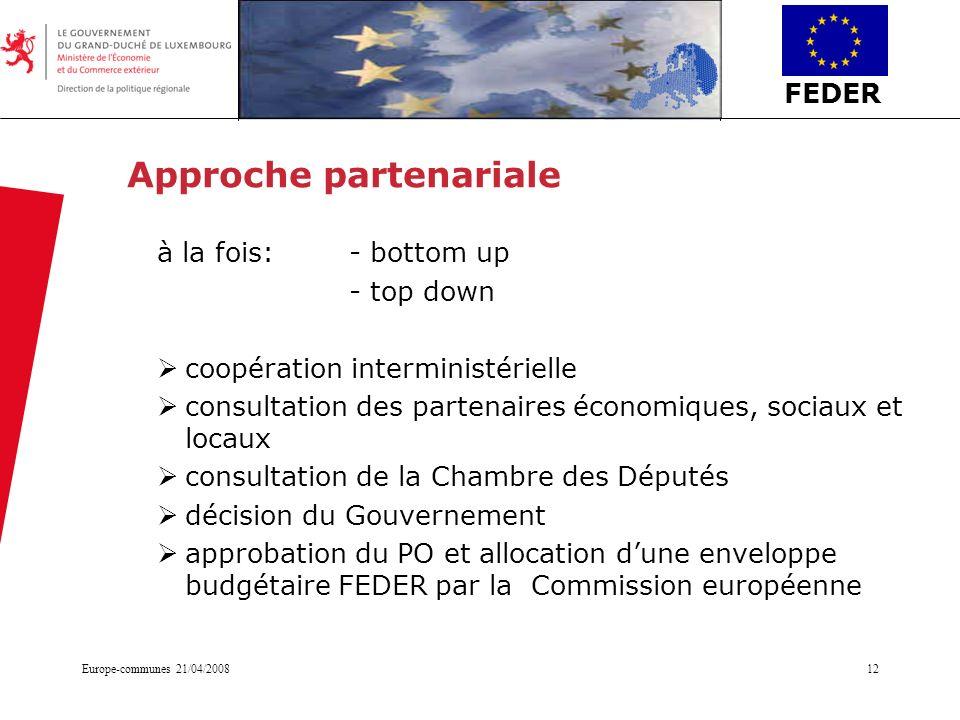 FEDER Europe-communes 21/04/200812 Approche partenariale à la fois: - bottom up - top down coopération interministérielle consultation des partenaires