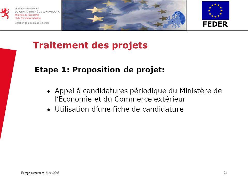 FEDER Europe-communes 21/04/200821 Traitement des projets Etape 1: Proposition de projet: Appel à candidatures périodique du Ministère de lEconomie et