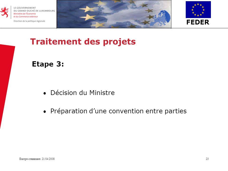 FEDER Europe-communes 21/04/200823 Traitement des projets Etape 3: Décision du Ministre Préparation dune convention entre parties