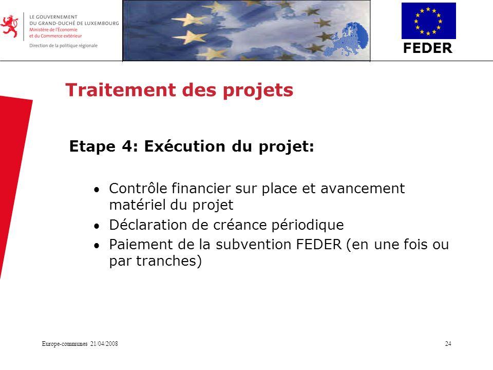 FEDER Europe-communes 21/04/200824 Traitement des projets Etape 4: Exécution du projet: Contrôle financier sur place et avancement matériel du projet