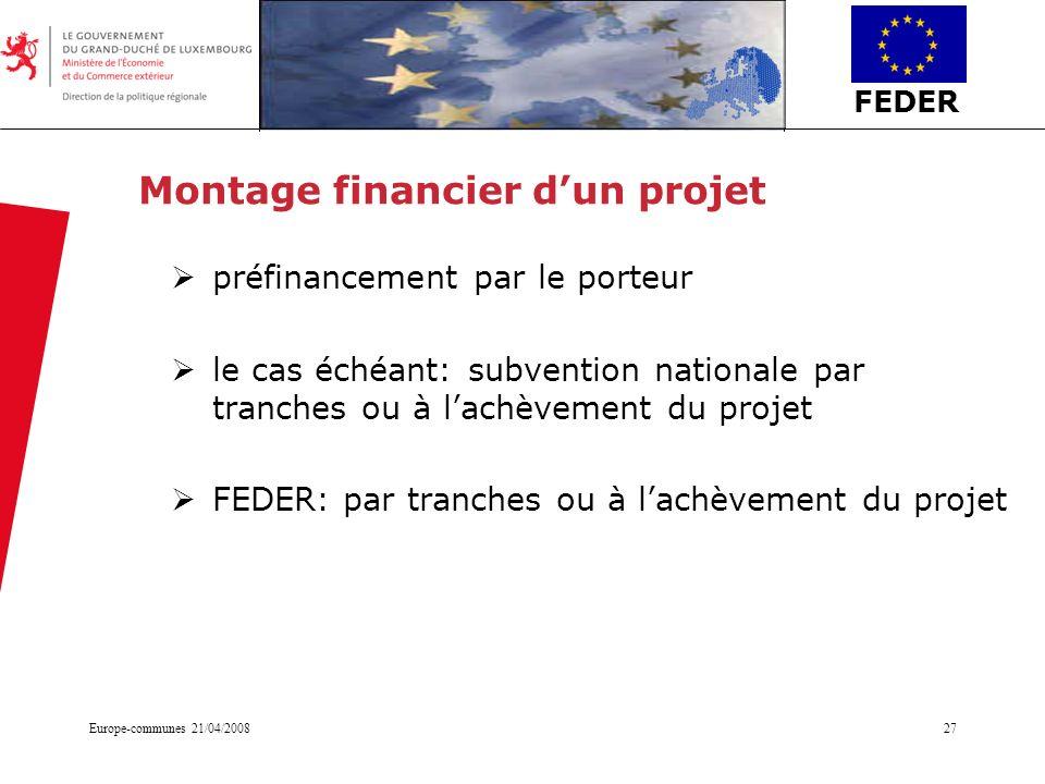 FEDER Europe-communes 21/04/200827 Montage financier dun projet préfinancement par le porteur le cas échéant: subvention nationale par tranches ou à l