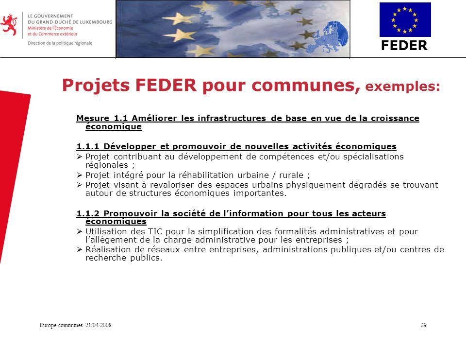 FEDER Europe-communes 21/04/200829 Projets FEDER pour communes, exemples: Mesure 1.1 Améliorer les infrastructures de base en vue de la croissance éco