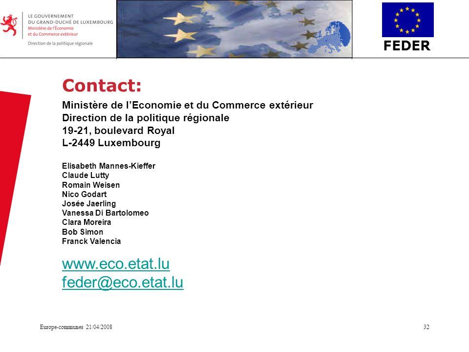 FEDER Europe-communes 21/04/200832 Contact: Ministère de lEconomie et du Commerce extérieur Direction de la politique régionale 19-21, boulevard Royal