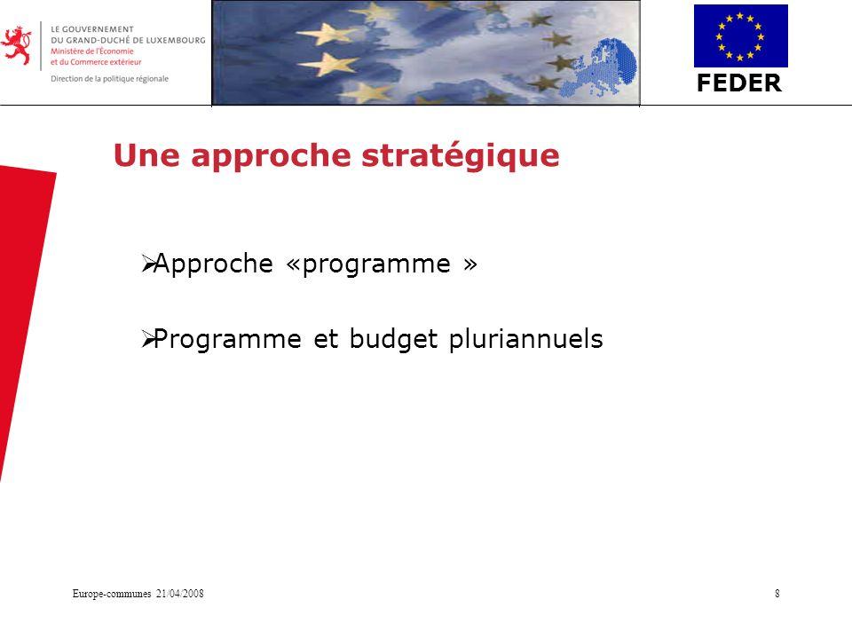 FEDER Europe-communes 21/04/20088 Une approche stratégique Approche «programme » Programme et budget pluriannuels