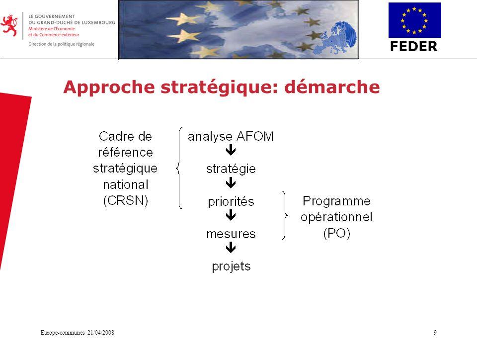 FEDER Europe-communes 21/04/20089 Approche stratégique: démarche