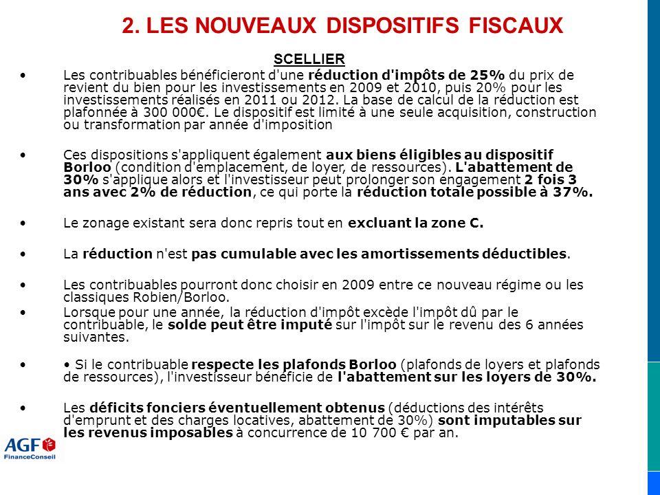 2. LES NOUVEAUX DISPOSITIFS FISCAUX SCELLIER Les contribuables bénéficieront d'une réduction d'impôts de 25% du prix de revient du bien pour les inves