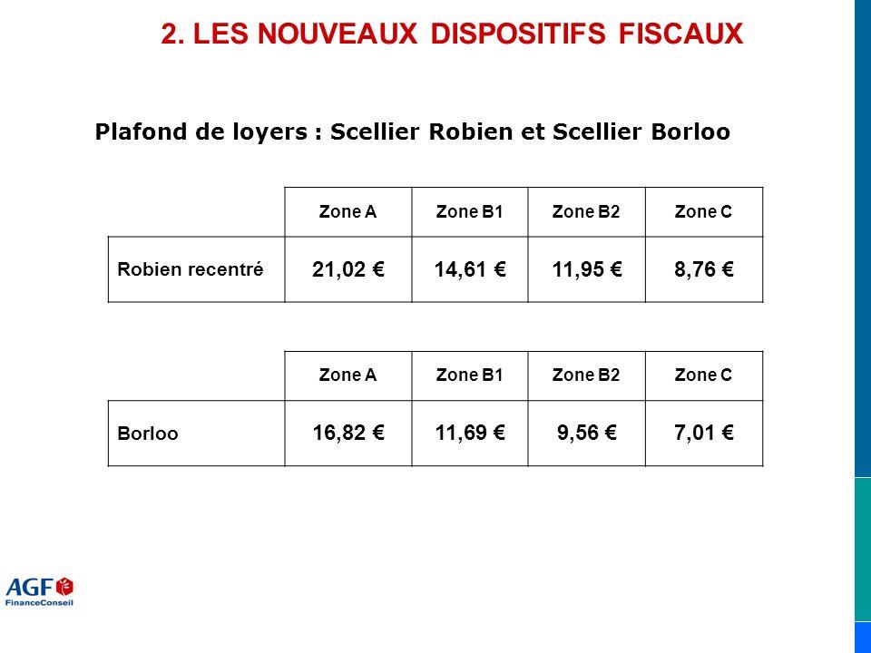 Plafond de loyers : Scellier Robien et Scellier Borloo 2. LES NOUVEAUX DISPOSITIFS FISCAUX Zone AZone B1Zone B2Zone C Robien recentré 21,02 14,61 11,9