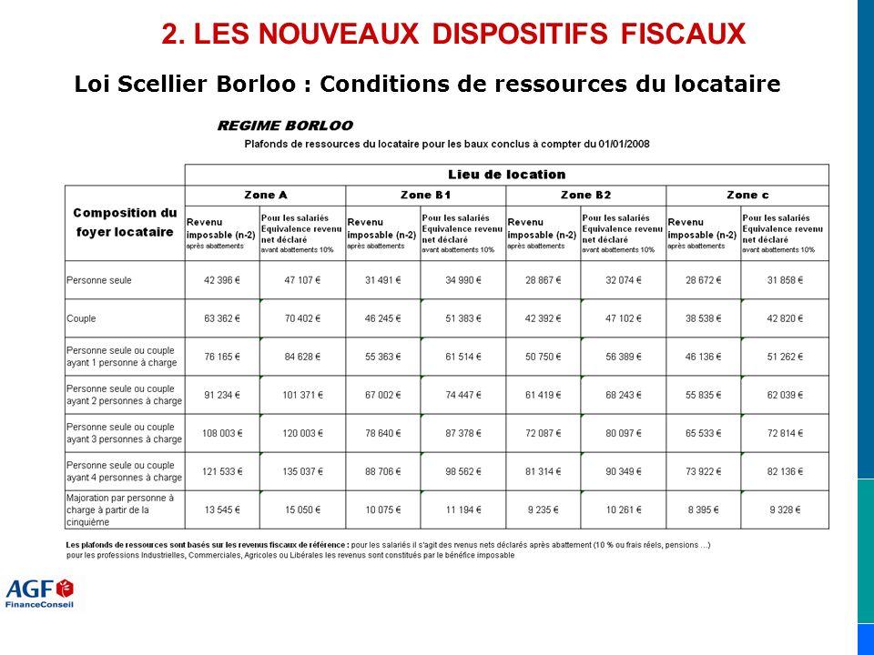 Loi Scellier Borloo : Conditions de ressources du locataire 2. LES NOUVEAUX DISPOSITIFS FISCAUX