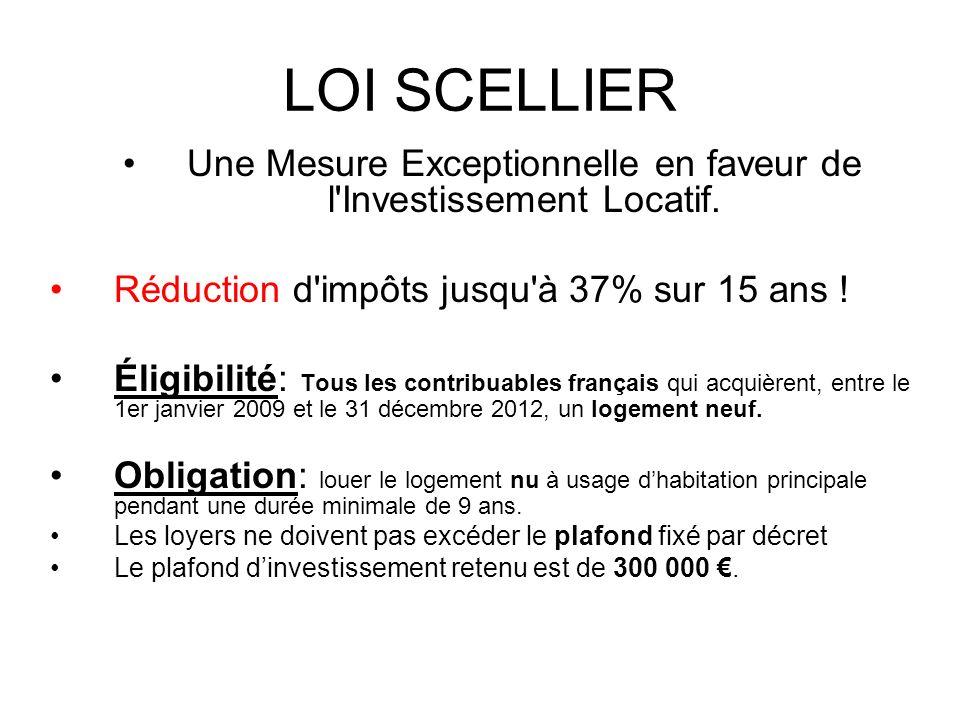 LOI SCELLIER Une Mesure Exceptionnelle en faveur de l'Investissement Locatif. Réduction d'impôts jusqu'à 37% sur 15 ans ! Éligibilité: Tous les contri