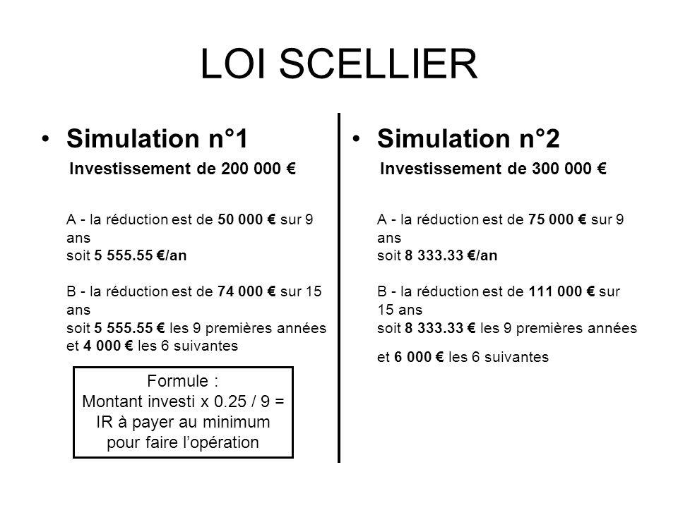 LOI SCELLIER Simulation n°1 Investissement de 200 000 A - la réduction est de 50 000 sur 9 ans soit 5 555.55 /an B - la réduction est de 74 000 sur 15