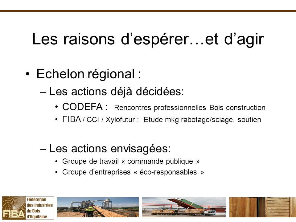 Les raisons despérer…et dagir Echelon régional : –Les actions déjà décidées: CODEFA : Rencontres professionnelles Bois construction FIBA / CCI / Xylof
