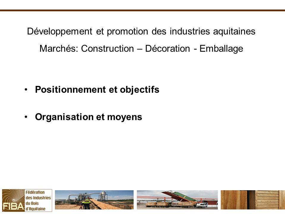 Positionnement et objectifs Organisation et moyens Développement et promotion des industries aquitaines Marchés: Construction – Décoration - Emballage