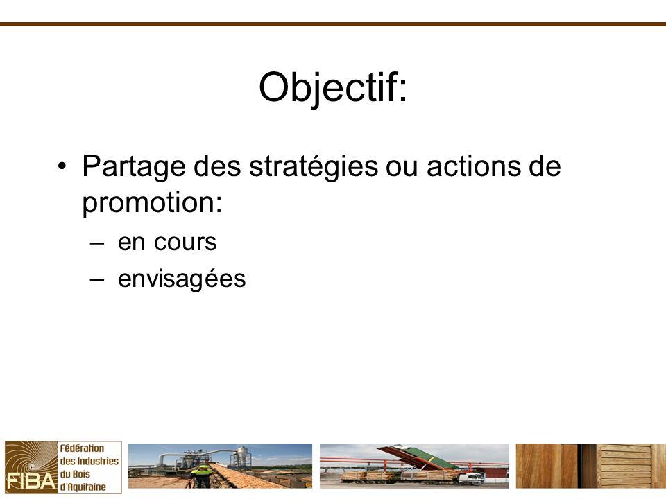Objectif: Partage des stratégies ou actions de promotion: – en cours – envisagées