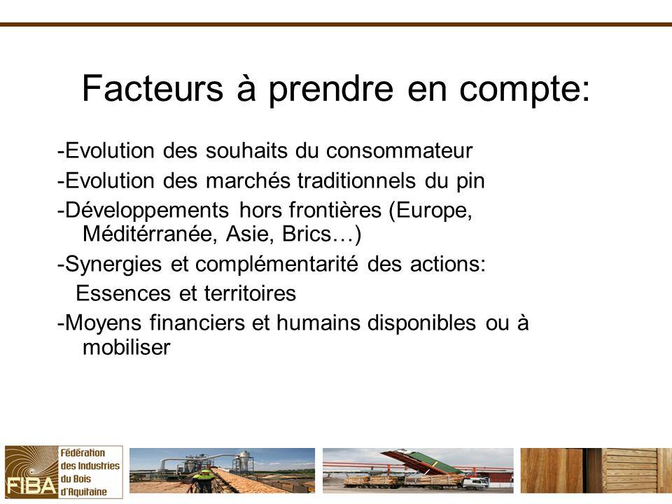 Facteurs à prendre en compte: -Evolution des souhaits du consommateur -Evolution des marchés traditionnels du pin -Développements hors frontières (Eur