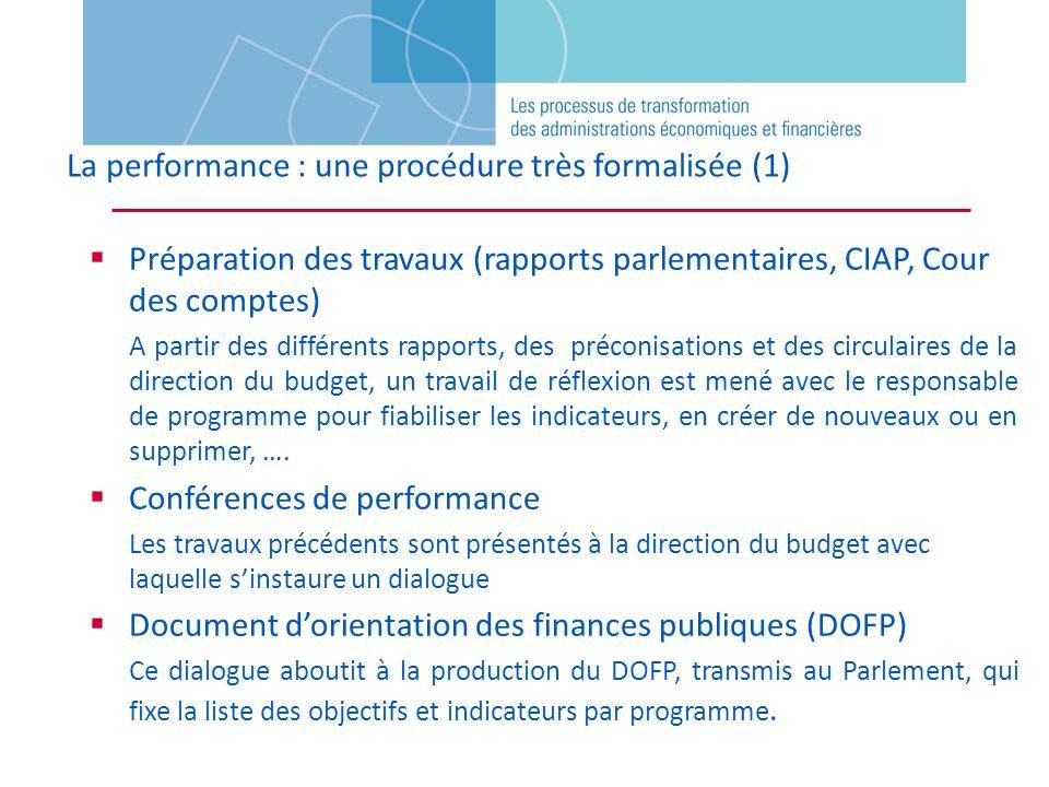 La performance : une procédure très formalisée (1) Préparation des travaux (rapports parlementaires, CIAP, Cour des comptes) A partir des différents r