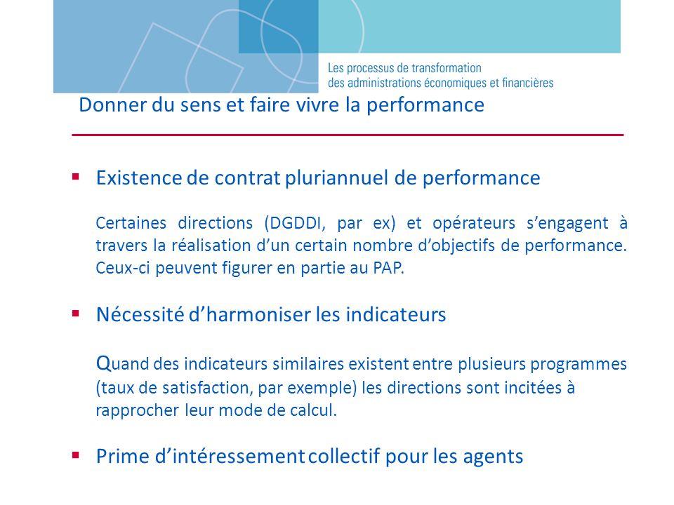 Donner du sens et faire vivre la performance Existence de contrat pluriannuel de performance Certaines directions (DGDDI, par ex) et opérateurs sengag