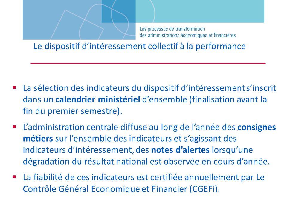 Le dispositif dintéressement collectif à la performance La sélection des indicateurs du dispositif dintéressement sinscrit dans un calendrier ministér