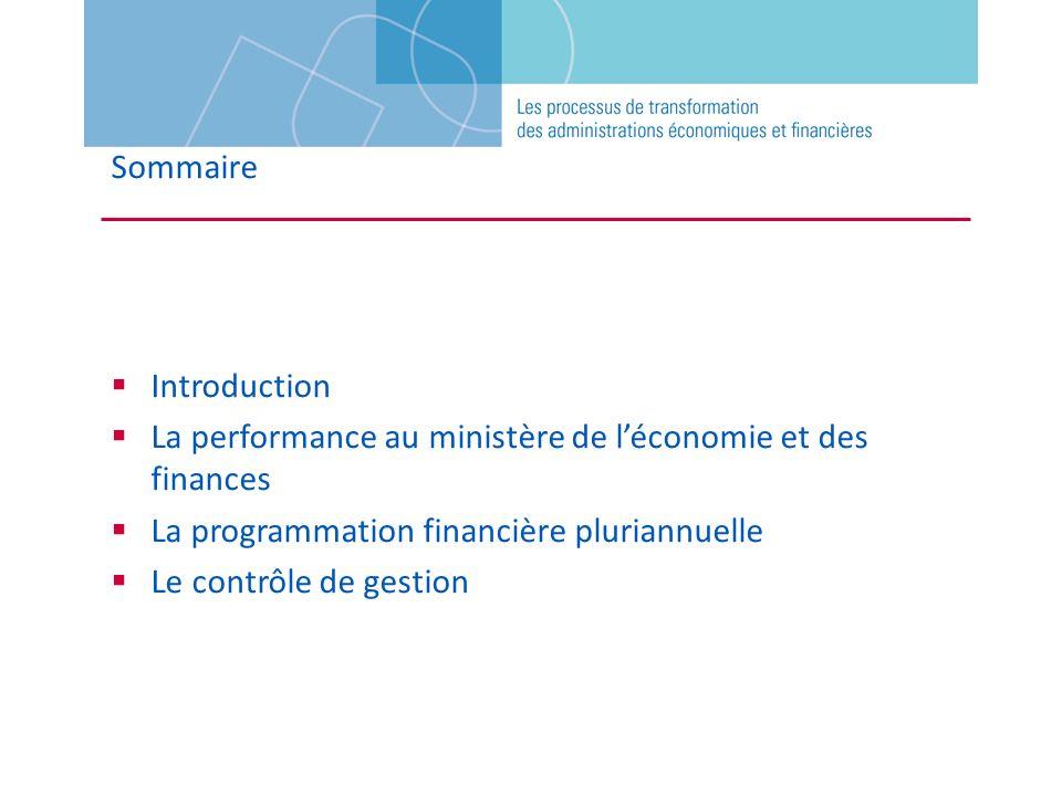 Sommaire Introduction La performance au ministère de léconomie et des finances La programmation financière pluriannuelle Le contrôle de gestion