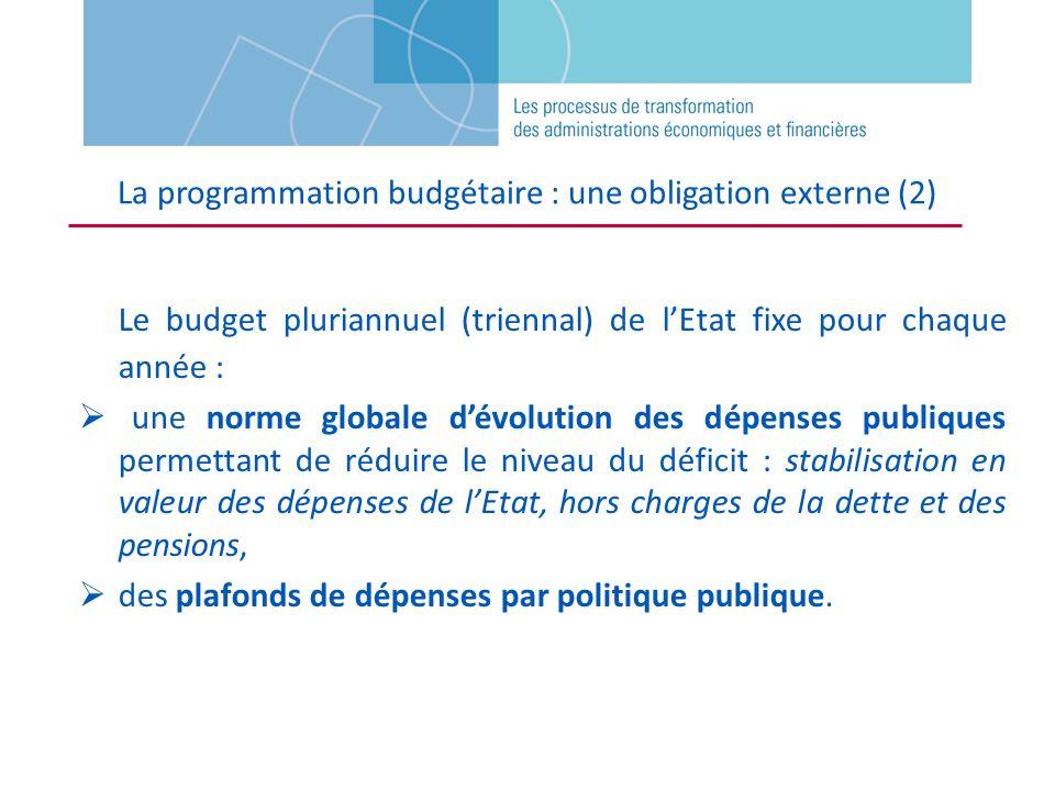 Le budget pluriannuel (triennal) de lEtat fixe pour chaque année : une norme globale dévolution des dépenses publiques permettant de réduire le niveau