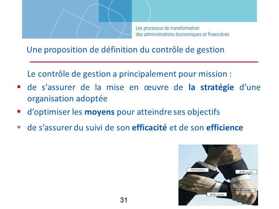 Une proposition de définition du contrôle de gestion Le contrôle de gestion a principalement pour mission : de s'assurer de la mise en œuvre de la str