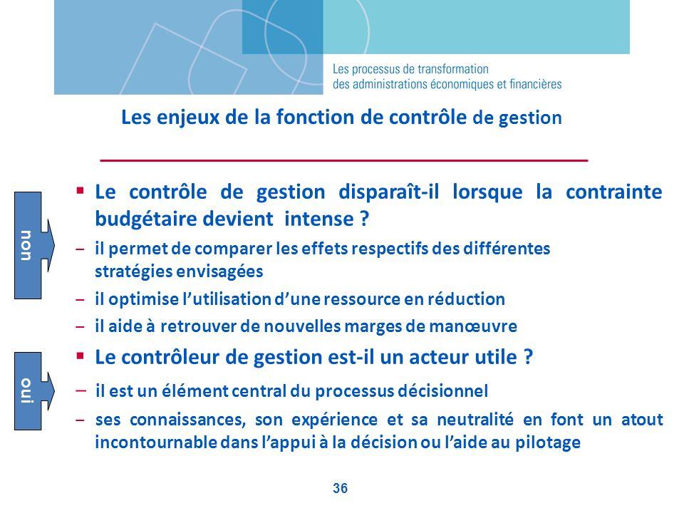 Les enjeux de la fonction de contrôle de gestion Le contrôle de gestion disparaît-il lorsque la contrainte budgétaire devient intense ? il permet de c