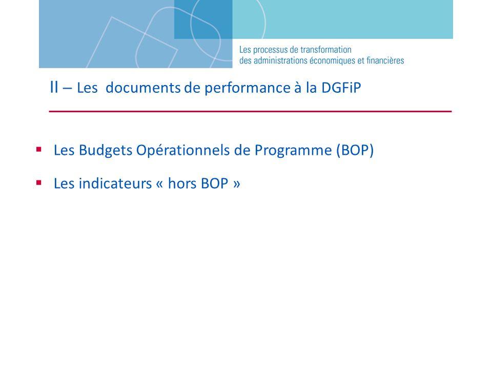 Les Budgets Opérationnels de Programme (BOP) Les indicateurs « hors BOP »