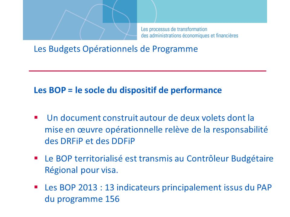 Les Budgets Opérationnels de Programme Les BOP = le socle du dispositif de performance Un document construit autour de deux volets dont la mise en œuv