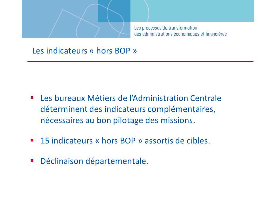 Les indicateurs « hors BOP » Les bureaux Métiers de lAdministration Centrale déterminent des indicateurs complémentaires, nécessaires au bon pilotage