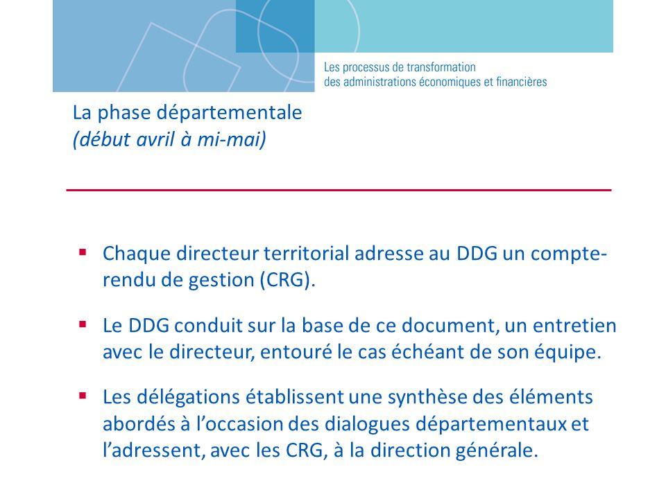 La phase départementale (début avril à mi-mai) Chaque directeur territorial adresse au DDG un compte- rendu de gestion (CRG). Le DDG conduit sur la ba