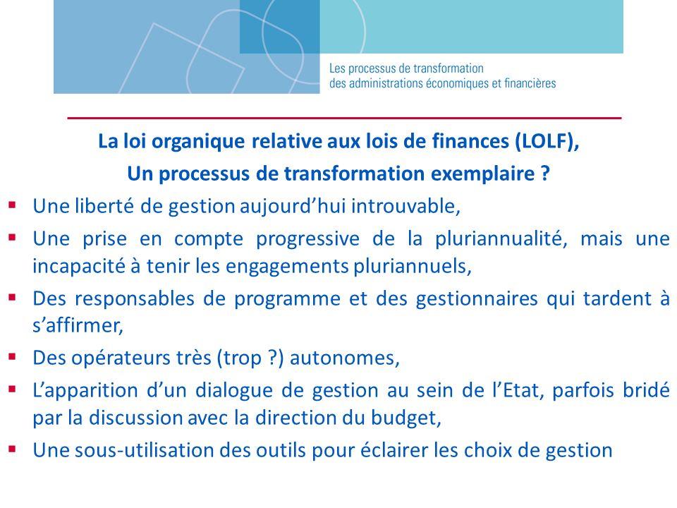 La loi organique relative aux lois de finances (LOLF), Un processus de transformation exemplaire ? Une liberté de gestion aujourdhui introuvable, Une