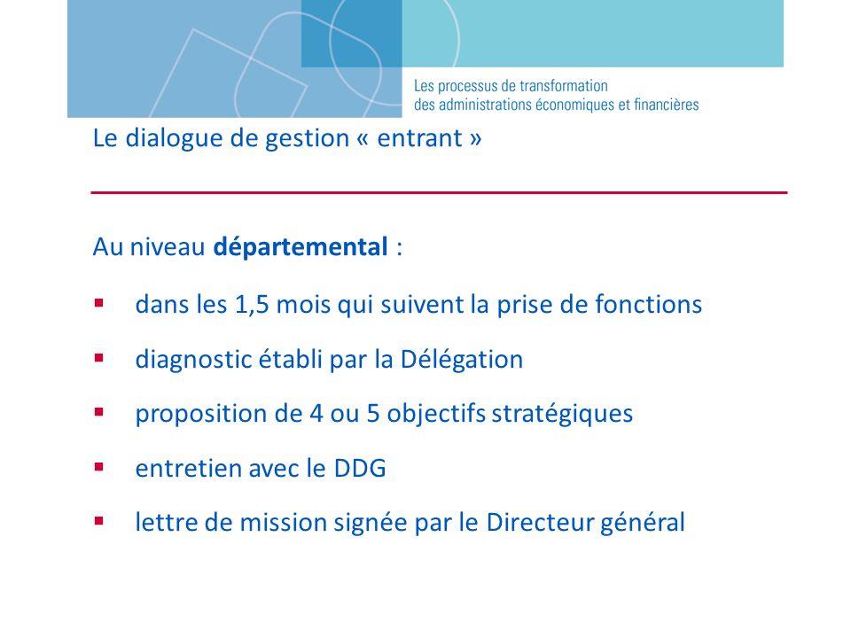 Le dialogue de gestion « entrant » Au niveau départemental : dans les 1,5 mois qui suivent la prise de fonctions diagnostic établi par la Délégation p