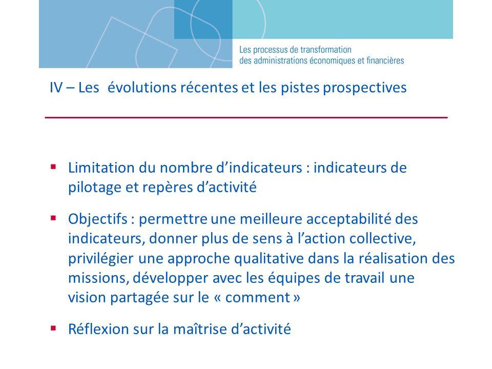 Limitation du nombre dindicateurs : indicateurs de pilotage et repères dactivité Objectifs : permettre une meilleure acceptabilité des indicateurs, do